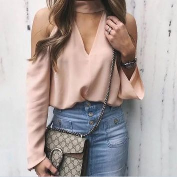 Fashion Sexy off shoulder halter v neck long sleeve top