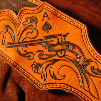 MTO Hand-engraved & Personalized Outlaw Guitar Strap with Name and Paisley scroll work pattern on Brown Leather (NO STAMPS)