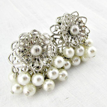Vintage Silver Filigree Earrings, White Pearl Chandelier Earrings, Silver Flower Earrings, Clip-On Earrings, 1950s 1960s Costume Jewelry