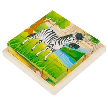 Educational Toy 3D Wooden Puzzle for Kids Cube Puzzle Cartoon(2 Years and up)