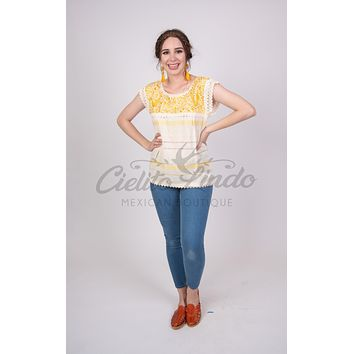 Mexican Oaxaca Cream & Yellow Blouse