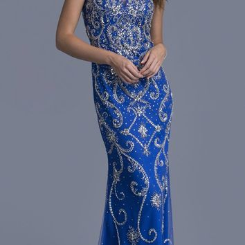 Rhinestones Embellished Evening Gown V-Neck Royal Blue