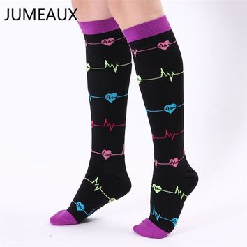 JUMEAUX Men Women Leg Support Stretch Compression Socks Below Knee Socks Breathable Travel Activities Sokken Fit for Unisex