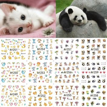 12 Sheets Nail Art Water Transfer Sticker Decals Cartoon Cute Animal Fox Panda Unicorn Stickers Wrap Tips Decoration A1249-1260