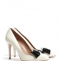 Patent Ivory Bow Detail Court Shoes by Red Valentino