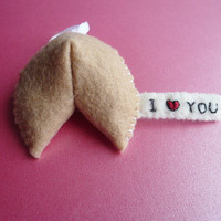 Handmade Felt Ornament Fortune Cookie by TheOffbeatBear