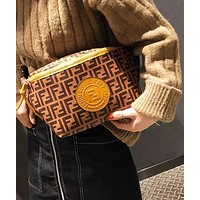 FENDI Trending Women Men Stylish Leather Canvas Sport Waist Bag Shoulder Bag Crossbody Satchel Brown