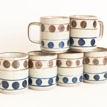 Vintage Polka Dot Stoneware Mug, Speckled Cobalt Blue and Brown Coffee Cup, Mid Century Hand Decorated (Sold Separately)