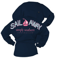 Simply Southern Sail Away Sailboat Sweeper Long Sleeve Oversized Top Pocket Shirt Jersey