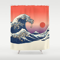 The Great Wave of Pug   Shower Curtain by Huebucket