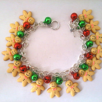 Gingerbread men charm bracelet
