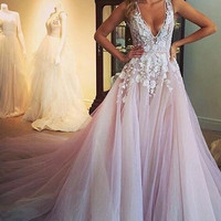 Deep V-Neck Applique Pink Tulle Prom Dresses