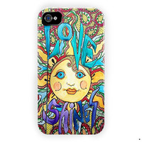 Love Shines Singleton Hippie Art For iPhone 4 / 4S Case