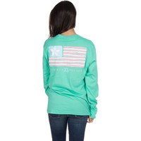 Lauren James Long Sleeve Tee- Magnolia Flag- Seafoam