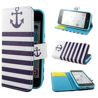 Leathlux Anchor Design Wallet PU Leather Stand Flip Case Cover for Apple iPhone 5C