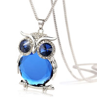 Blue Crystal Owl Pendant Necklace