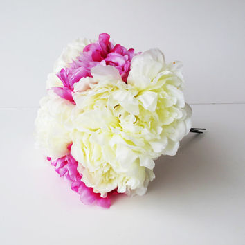 SALE 8 Peonies Bouquet Artificial Silk Flowers Bouquets White Pink Peony Flower Wedding Bouquets Decoration Decor Spring Summer Simulation F