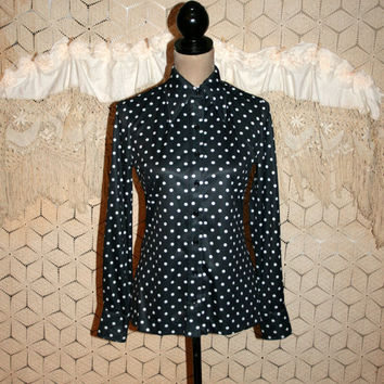 70s Black White Polka Dot Blouse Tailored Shirt Long Sleeve Top Long Pointed Collar Hipster Button Up 1970s Small Vintage Womens Clothing