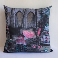 "Print on BOTH SIDES - Cushion cover 18""x18""  Modern decorative throw pillow -  NY Manhattan -"