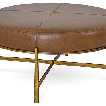 Renzo Round Ottoman, Saddle Leather, Ottomans