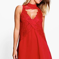 Boutique Flo High Neck Lace Front Swing Dress | Boohoo
