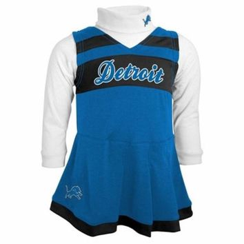 ONETOW NFL Detroit Lions Girls Cheer Jumper Dress with Turtleneck