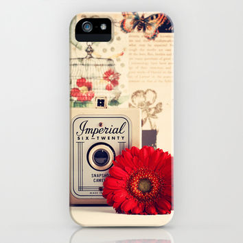 Retro Camera and Red Flower (Retro and Vintage Still Life Photography) iPhone & iPod Case by Andrea Caroline