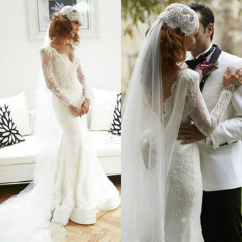 Vestido De Noiva Curto Mermaid Long Sleeve Lace Wedding Dress V Neck Long Sleeve Train Open Back Bridal Gown Lace Bodice