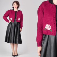 50s Plum Crop Sweater Jacket / Roses Floral Embroidered Cropped Cardigan / Sweet Cute Pink Medium M Knit Jacket