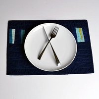 Blue Placemats, Modern Table Decor, Quilted Placemats, Table Linens, Set of 4