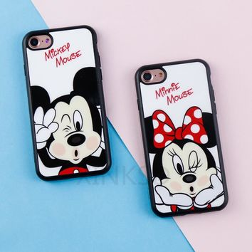 Original Cute Cartoon Minnie Mirror Silicone Cases for iPhone X 6 6s Case TPU Mickey Mouse Case for iPhone 7 8 Plus 5 5s SE Case