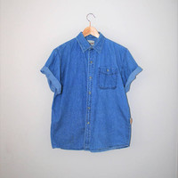short sleeve chambray shirt 90s vintage pale denim button up polo shirt medium