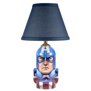 Captain America Lamp with Blue Lamp Shade