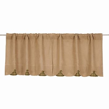 Burlap with Green Check Tier Curtains 24""