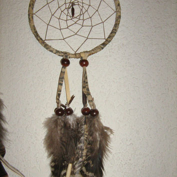 Mini Car Dream catcher  printed zebra look on genuine leather, native woven hemp dangles,made with horn beads,fancy feathers,charms