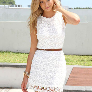 Sleeveless Lace Bodycon Mini Dress with Back Zip