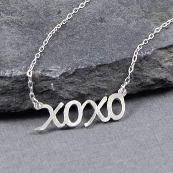 XO XO, Hugs and Kisses, Valentine's Day, Sterling silver XOXO, Be Mine, I love you..., One of a Kind, Gifts for her, Valentine's Day Gifts