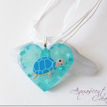 Turtle resin charm necklace, blue sea turtle charm pendant, sea ocean resin necklace, blue heart resin pendant, kawaii necklace for girls