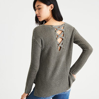 AE Lace-Up-Back Waffle Knit Sweater, Deep Plum