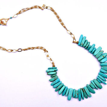 Turquoise Howlite & Matte Gold Beaded Stick Necklace