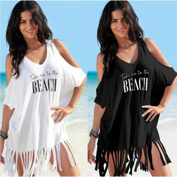 Women Ladies Beachwear Dresses Cotton Printed Letters Strapless Fringed