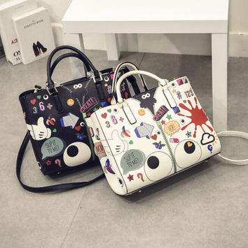 Lady Casual Cartoon Print Leather Crossbody Messenger Bags Women 2Pcs Chic Handbag Shoulder Bag+Free Gift -Random Necklace-75