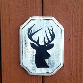 CUSTOM Deer Head Silhouette Distressed Reclaimed Wood Hand Painted Sign, Hunting Sign, Deer Head Sign, Repurposed Wood Sign