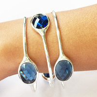 Dark Blue Quartz Gemstone Bangle