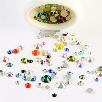 Free shipping Mixed size color 10gram/bag 3D Nail Art Decorations Non Hotfix Flat back Crystal Rhinestones for nails Diy