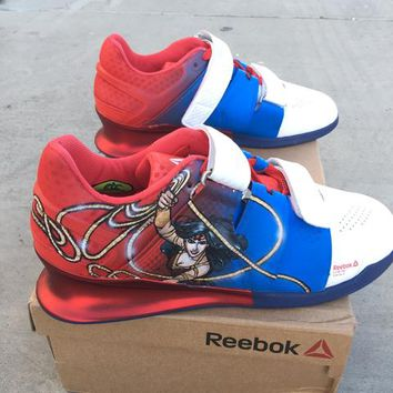 Channeling Your Inner Wonder Woman Stregnth at the Gym - Cutsom Hand Painted Reebok Legacy Lifters