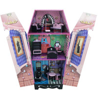 Teamson Kids - Vampire Villa Coffin Wooden Doll House with 7 pcs Furniture for 12 inch Dolls