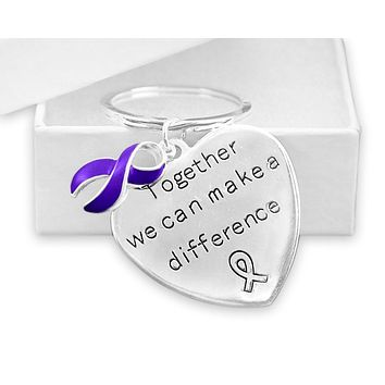 Purple Awareness Ribbon Key Chain for many Causes