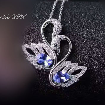 Tanzanite Necklace, Sterling Silver Swan Pendant, Natural Tanzanite Pendant, CZ