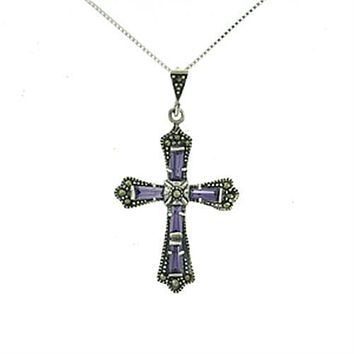 Celtic Style Antique Amethyst Cross Pendant Necklace